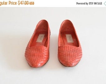50% OFF SALE / Vintage BALLY woven leather shoes / 8