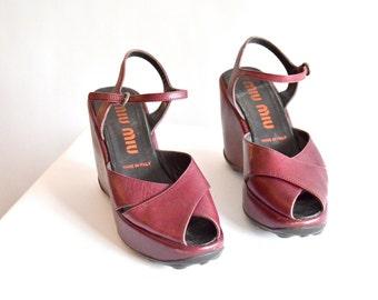 MIU MIU leather platform shoes / 6.5