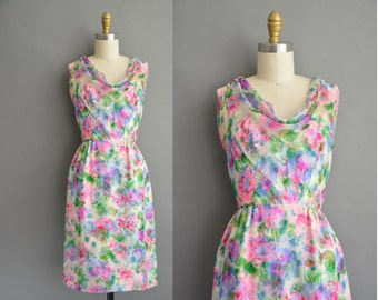 Malcolm Star 50s water color floral chiffon vintage wiggle dress / vintage 1950s dress