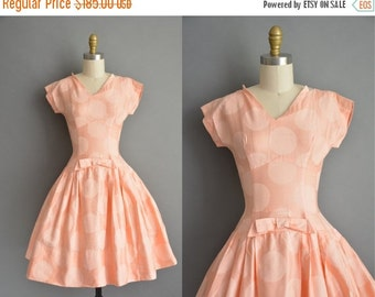 25% off SHOP SALE... 50s polished cotton peach polka dot vintage dress / vintage 1950s dress