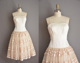 vintage 1950s inspired dress / tier satin party dress / 50s dress