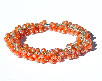 Mystic Salmon Quartz Cluster Bracelet / Sterling Silver / Wire Wrapped / Gifts For Her / Peach / Orange / Apricot / OOAK
