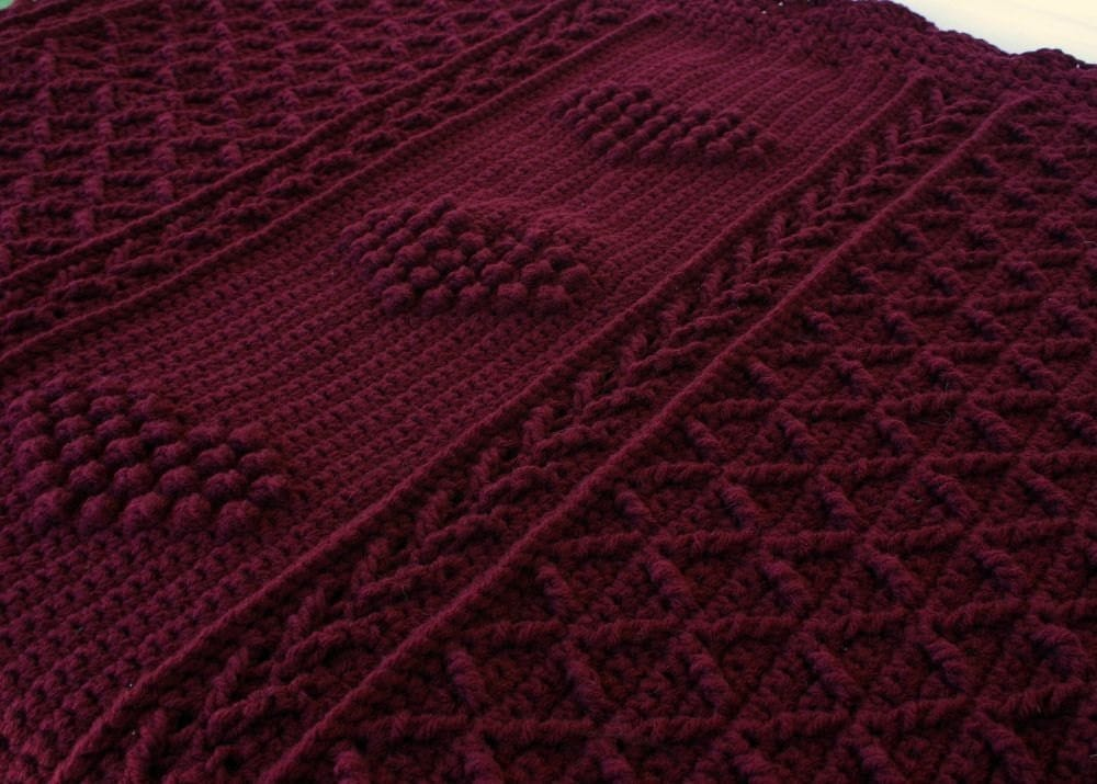 Crochet Afghan Burgundy Throw Blanket Claret Dark Red Hearts