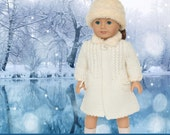 Doll Clothes Pattern, Coat Pattern for American Girl Doll, Knitted Doll Coat, Knitted Doll Clothes, 18 inch Doll Clothes Pattern