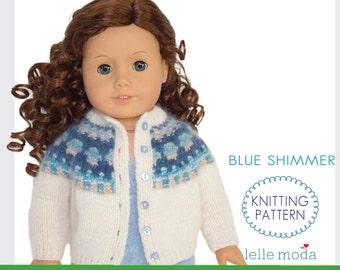 Doll Clothes Pattern, Bohus Knitting Pattern  for American Girl Doll, 18 inch Doll Clothes Pattern, Doll Cardigan, Doll Sweater Pattern