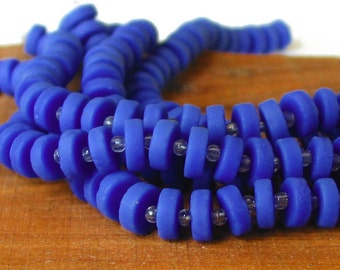 """1 / 2 str 8"""" 36pcs Royal Blue 8mm COIN DISC OPAQUE sea beach glass beads frosted heishi spacer matte recycled"""