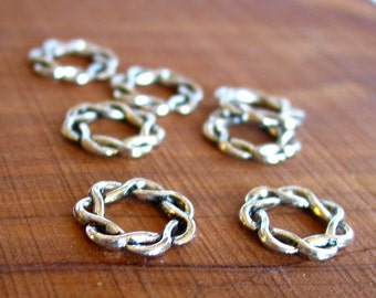 12 pcs twisted rope 15mm antique silver Metal ring Beads findings LEAD FREE