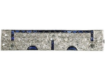 Valentines Sales Art Deco Sapphire Diamond Brooch Platinum ref.14119-0007