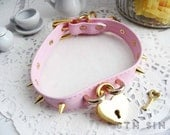 Pink and Gold Leather Heart Lock Choker with Key, Pink Heart Lock Choker, Pink Heart Padlock Choker, Gold Heart Padlock Choker