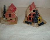 F) Two Small Cardboard Christmas Houses