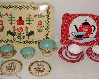 J. Chein Toy Tin Yellow Dishes, Ohio Art Tin Litho Toy Dishes, & Happy Birthday Toy Tin Dishes,