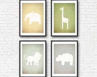 Safari Nursery Printables - Vintage Inspired, Lion, Elephant, Giraffe, Hippo - Wall Art - Digital Download