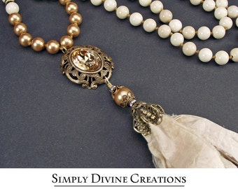 Sophisticated BoHo Glam Golden Shadow Swarovski Crystal Tassel Necklace, Riverstone Tassel Necklace, Filigree Tassel Necklace