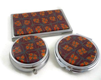 Gift set for women compact, pill box tin and business card set