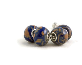 European style bracelet beads navy and tan polymer clay