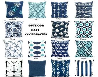 OUTDOOR Pillow Covers, Deach Decor, Throw Pillows, Nautical Cushion Covers,  Oxford Navy