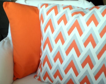 Orange Gray Pillow Covers Decorative Throw Pillows Cushion Covers, Grey Orange Cream Chevron Solid Orange Couch Bed Set of Two Various Sizes