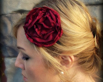 Cranberry Red Floral Headband for Girls and Adults