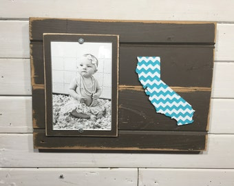 "California chevron picture frame holds 4""x6"" photo CUSTOMIZABLE"