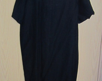 MARY DE ANGELIS Navy Blue Linen Short Sleeved Dress Size Large