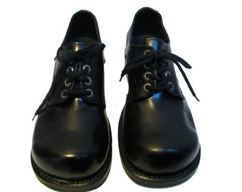 Vintage Muro Mens Shoes Black Leather Lace Up Chunky Gibson Welt Sole Shoes Mns US Size 13 Made In Mexico