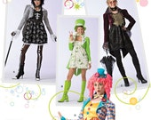 Simplicity Costume Pattern 2525 - Misses' Clown, Skeleton, Steampunk or St Patrick's Costumes with Hats - Sz 6/8/10/12