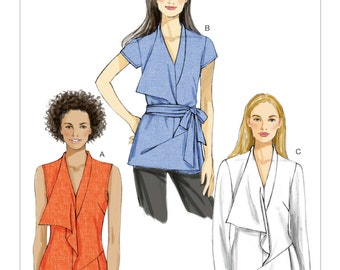 Sz 14/16/18/20/22 - Vogue Top Pattern V8979 - Misses' Tunic Tops and Belt in Three Variations - Vogue Patterns