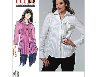 "Vogue Shirt Pattern V1165 by SANDRA BETZINA - Misses' Loose Fitting Pleated Front Shirt - Bust 32"" to 55"" - One Size Pattern"