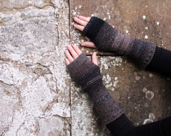 Arm warmers - gray black mittens - extra long, gift for her dark fingerless gloves arm warmers, gift for her, knitwear UK