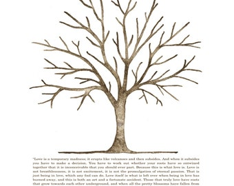 X-Large (Jennifer 9-5-15)  Traditional Canvas Oak Tree 225 guests: 36'' x 24'' three green ink pads, two brown pens ~Louis de Bernieres poem