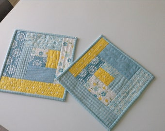 "QUILTED MUG RUGS, Blue and Yellow, Set of 2, Scrappy, Small Placemats, Machine Quilted, Log Cabins, Handmade, 9"" Square, Ready To Ship"