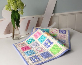 Pretty Purples Raggy Patches Quilted Table Runner