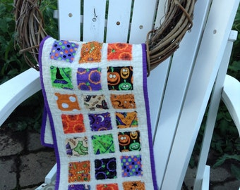 """QUILTED HALLOWEEN TABLERUNNER, Raggy Patches, Halloween Fabrics, 10.5"""" x 34"""", Quilted Tablemat, Raggy Edges, Handmade, Ready To Ship"""