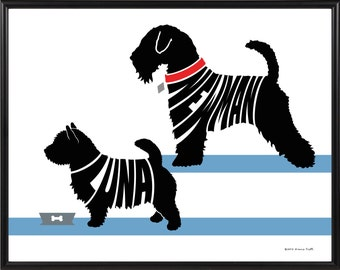 Personalized Pair of Terriers Framed Art Print, Boston, Yorkshire, Jack Russell, Wheaten, West Highland, Bull Terrier or Norwich Terrier