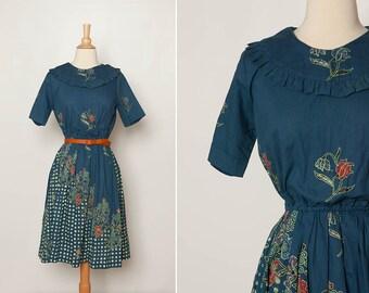 vintage blue floral batik dress