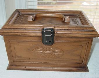 Vintage Lerner Faux Wood Sewing Box Brown