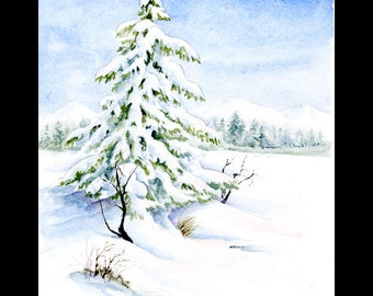 Winter Watercolor Painting ~ Watercolor Print ~ Digital download print of snow on evergreens in a watercolor painting.