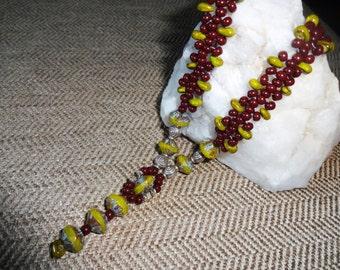 Green & Burgandy Necklace