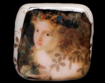 Studio Limoges Porcelain Handmade Ring Fairy Face Wreath Butterfly Asymmetry