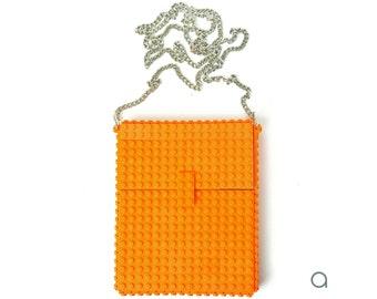 Orange hip clutch on a chain made entirely with LEGO® bricks FREE SHIPPING crossbody purse handbag
