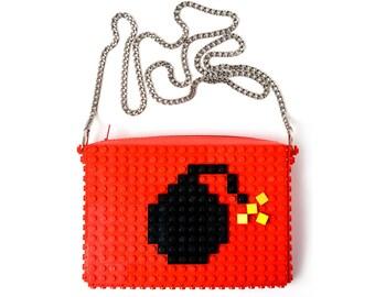 Red crossbody purse with bomb made with LEGO® bricks FREE SHIPPING handbag trending fashion gift party wedding retro
