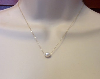 Floating Pearl Necklace on 14kt Gold Filled Chain or Sterling Silver Chain White Fresh Water Pearl in 3 Lengths, Single Pearl Bridal Jewelry