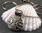 Fine silver antique button, handmade recycled fine silver cross pendant necklace-OOAK