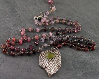 Long spinel necklace, handmade recycled fine silver leaf necklace-OOAK Plum Harvest layering opera length necklace