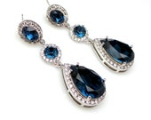 wedding bridal jewelry statement earrings prom pageant bridesmaid gift teardrop cubic zirconia and swarovski montana blue crystal oval post