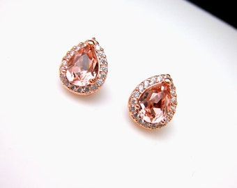 bridal wedding jewelry bridesmaid gift christmas prom teardrop cubic zirconia post rose pink gold earrings swarovski vintage rose crystal