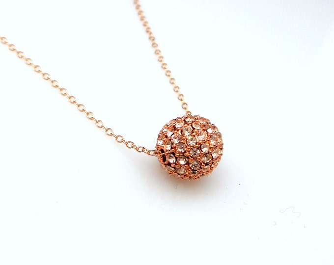 christmas prom gift bridesmaid jewelry bridal rose gold plated sterling silver necklace 10mm champagne gold pave rhinestone fire metal ball