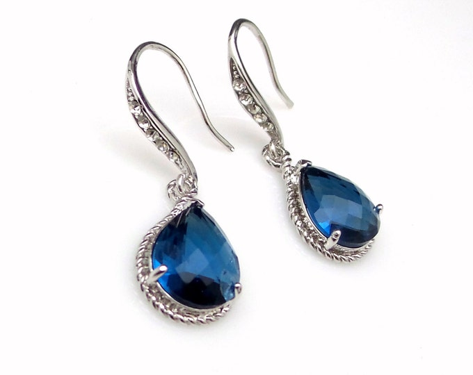 bridal bridesmaid prom jewelry christmas wedding gift deep navy blue crystal quartz drop white gold cubic zirconia rhodium hook earrings