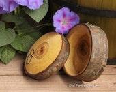 Rustic Log Jewelry Box Two Hearts Custom Personalization Rustic Wedding Ring Box