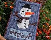Snowman Welcome Banner Quilted Christmas Decoration